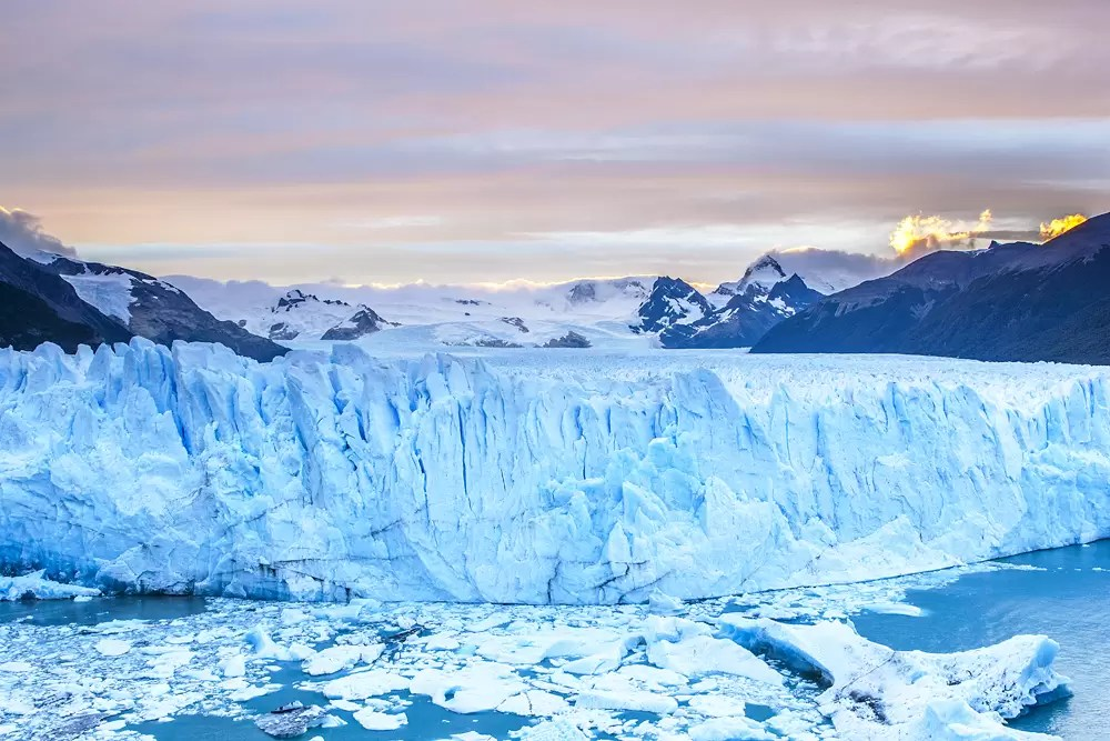 Morning on the jagged mass of crevasses in glacier field of Perito Moreno glacier, Argentina