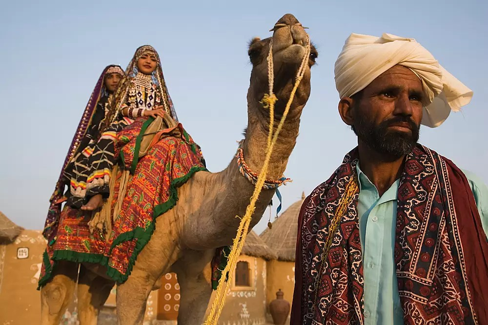 Rajasthani dancers in traditional costumes sitting on camel in desert camp
