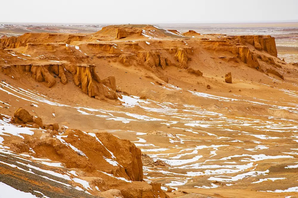 An aerial of Bayanzagm, or the flaming cliffs in the Gobi Desert where the first dinosaur eggs were discovered