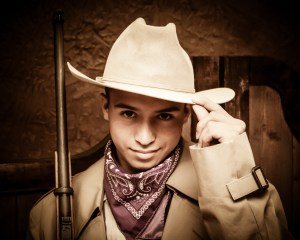 Young boy dressed up as cowboy in Pigeon Forge Tn