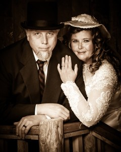 Couple posing for Old Time Photo at Wild Gals in Pigeon Forge TN