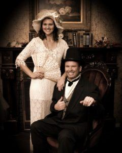A Pigeon Forge old time photo with a Southern belle and a Southern gentleman.