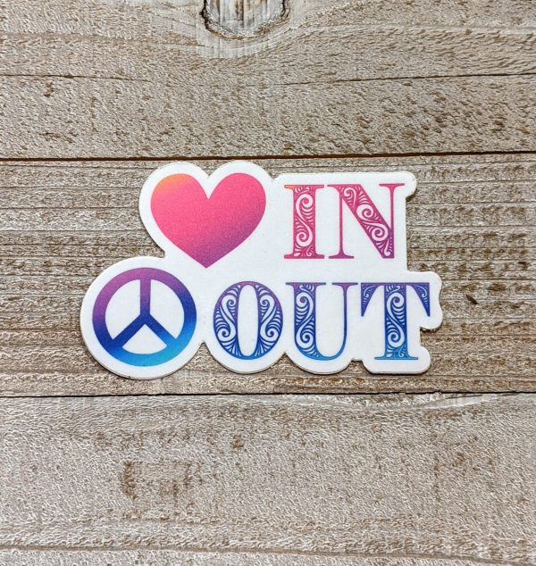 love in peace out symbols meditation sticker