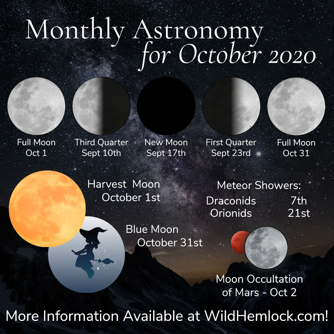 When to see the full moon in october 2021 the hunter's moon will reach peak illumination at 10:57 a.m. Monthly Astronomy for October 2020 - Wild Hemlock