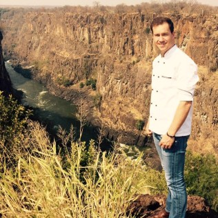 Dean at the edge of the gorge at The Elephant Camp