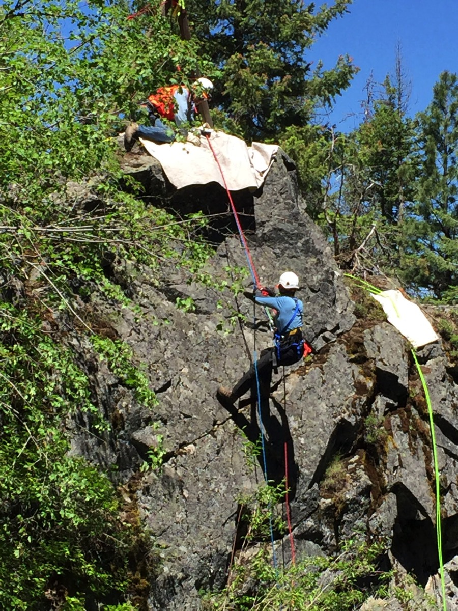 Wallowa County Search and Rescue Ropes team practices a rescue earlier this year. Contributed photos
