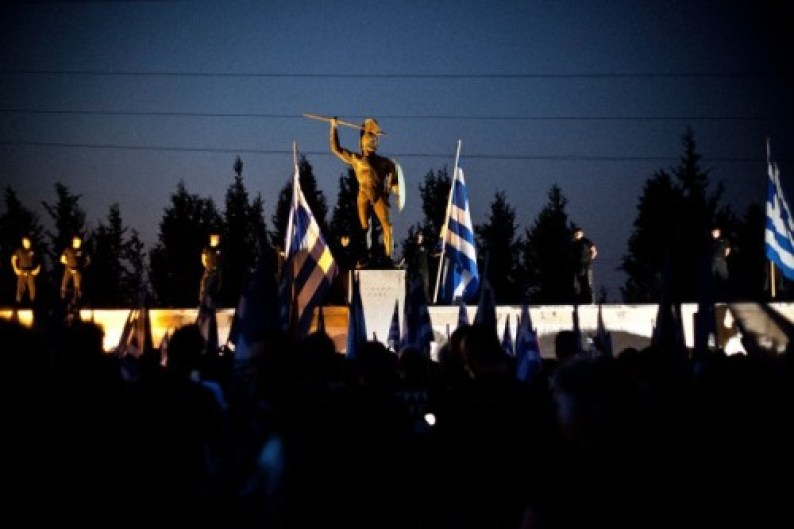 Golden Dawn rally at Thermopylae, congregating around a statue of King Leonidas of Sparta