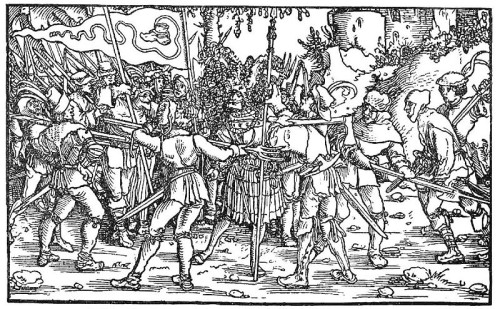 Peasants surround a knight during the Peasants' War. Illustration circa 1539. [Public Domain]