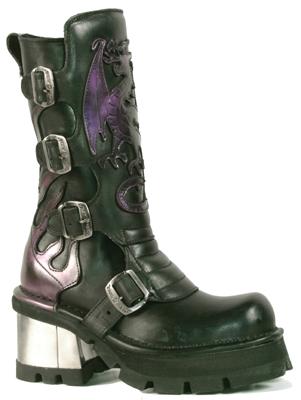 New Rock Boots 362 Itali Negro Antik Lila Planing Negro M-8 Acero