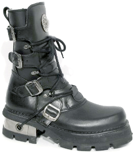 New Rock Boots 373-S1 Itali y Pulik Negro Planing Negro M3 Acero