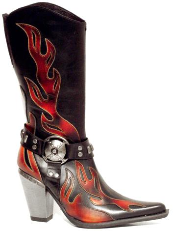 New Rock Boots 7901 Itali Negro Pulik Fuego Bull Negro Tacon Bull Acero