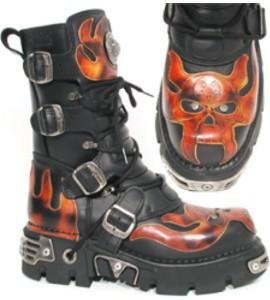 New Rock Boots 107-1 Itali Negro y Antic fuego, Reactor Negro Toberas