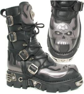 New Rock Boots 107-2 Itali negro y Antic Acero, Reactor Negro Toberas