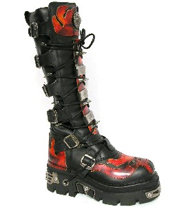 New Rock Boots 161-1 Itali Negro y Antic Fuego Reactor Negro E14 Toberas