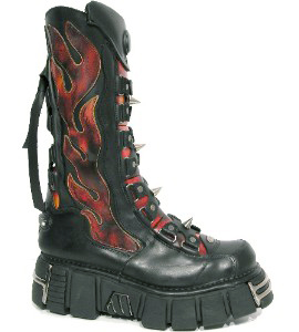 New Rock Boots 177 Itali Negro y Antic Fuego, Tower Negro Acero