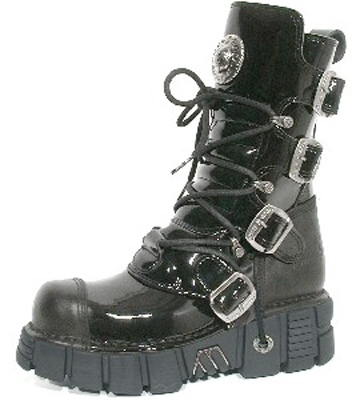 New Rock Boots 313 Itali Negro y Charol Negro, Tower Negro Acero