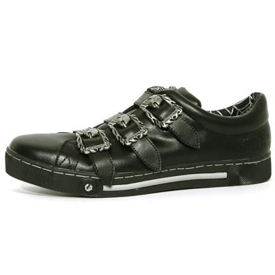 New Rock Boots 45693 Itali Negra Skull Negro Gris