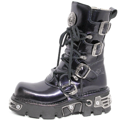New Rock Boots 373-S4 Antic Morado Reactor Negro Toberas Orificio Y Canal