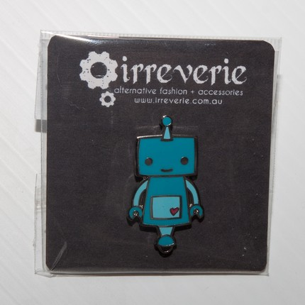 Blue Robot Enamel Badge with Butterfly Pin
