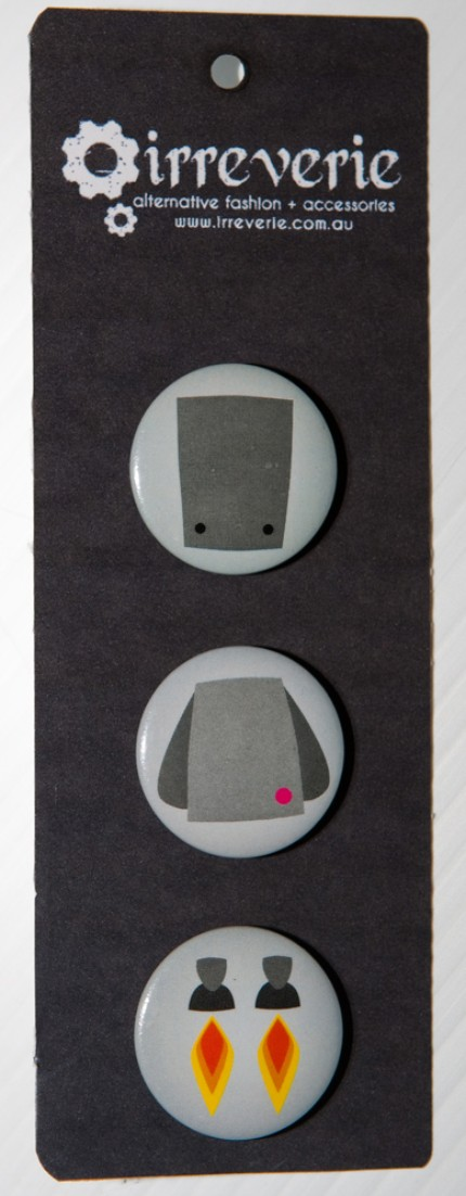 Grey Robot Mix and Match 25mm (1in) Button Badge Set