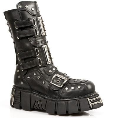 New Rock Boots 794 PULIK E ITALI NEGRO, TOWER NEGRO ACERO