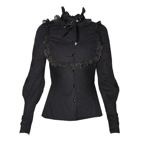 Elegant Gothic Aristocrat High Collar Blouse (black)