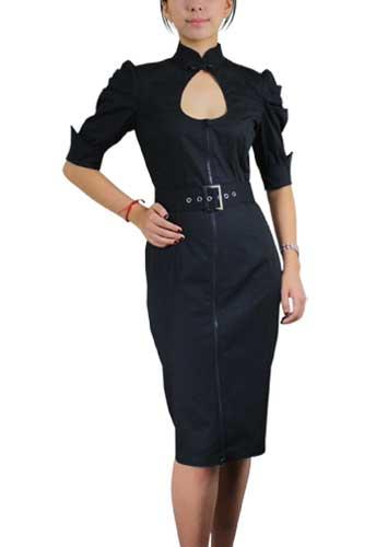 Chicstar Belted Pencil Dress - Black