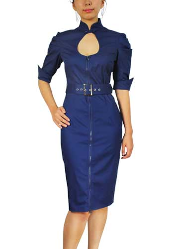 Chicstar Belted Pencil Dress - Blue