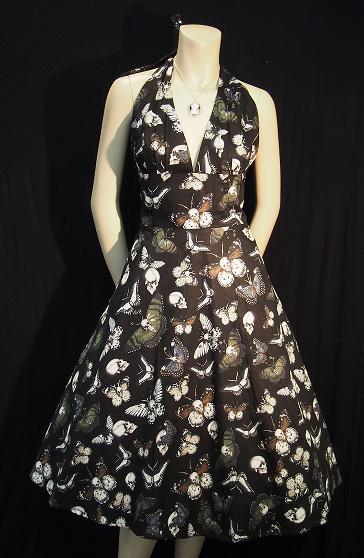 Rockabilly Halter Dress - Skulls & Butterflies