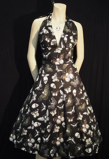Rockabilly Halter Dress - Skulls & Butterflies