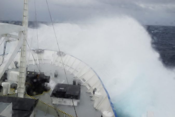 Taking a big spray over the bow on a rough day