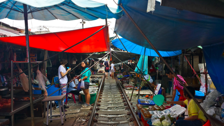 The Maeklong rail Road Market