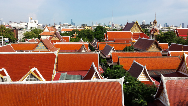 The view from My House Guest House across the rooftops to the skyline of Bangkok