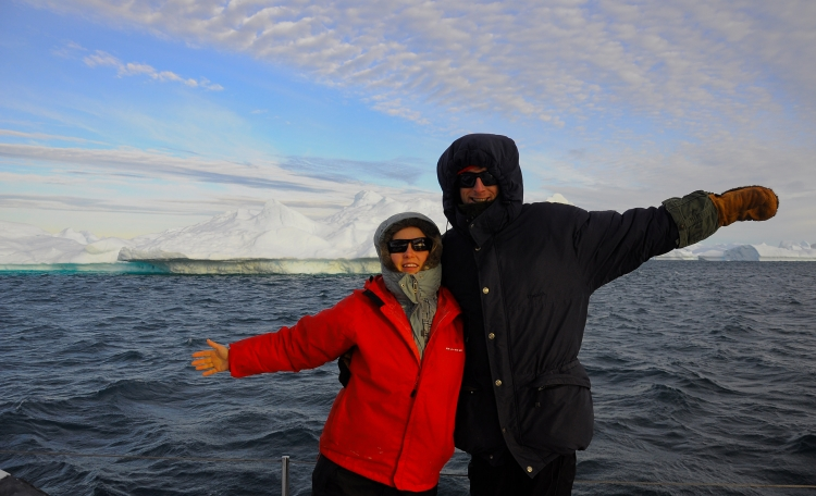 Graceie and I on a yacht sailing around ice bergs in Greenland