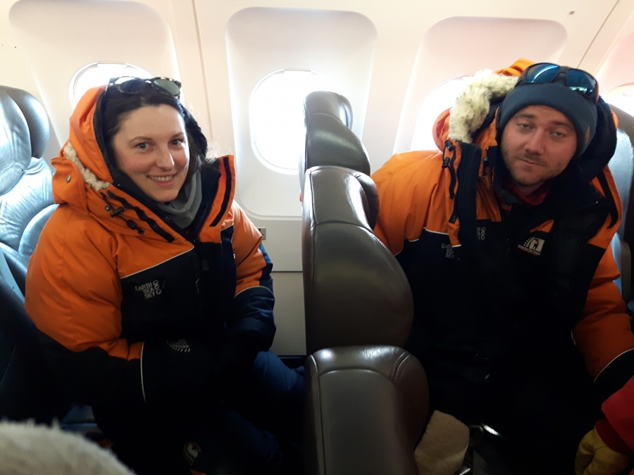 Flying to antarctica