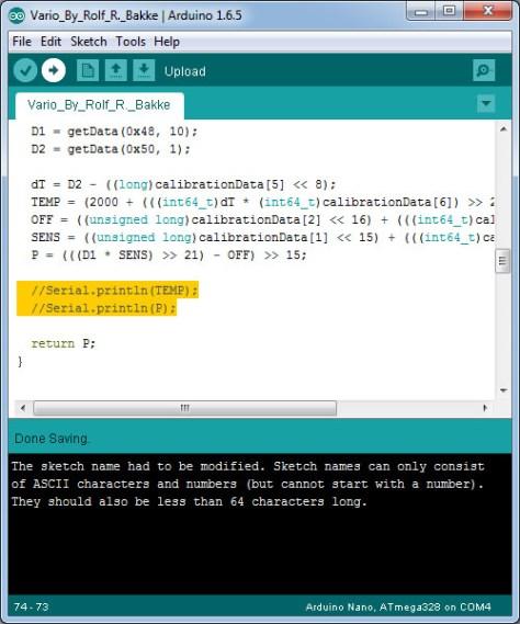 Arduino sketch variometer