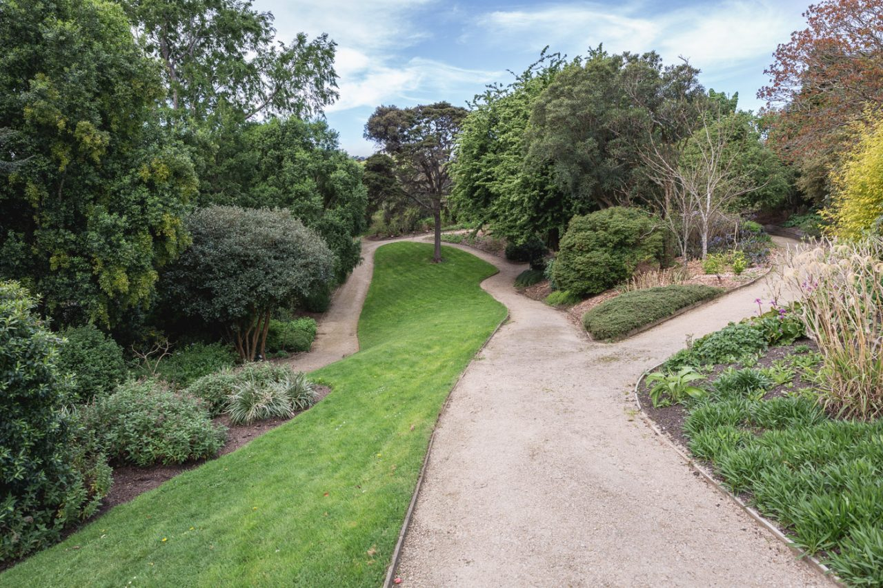 Winding trails through the Dunedin Botanical Gardens, South Island, New Zealand