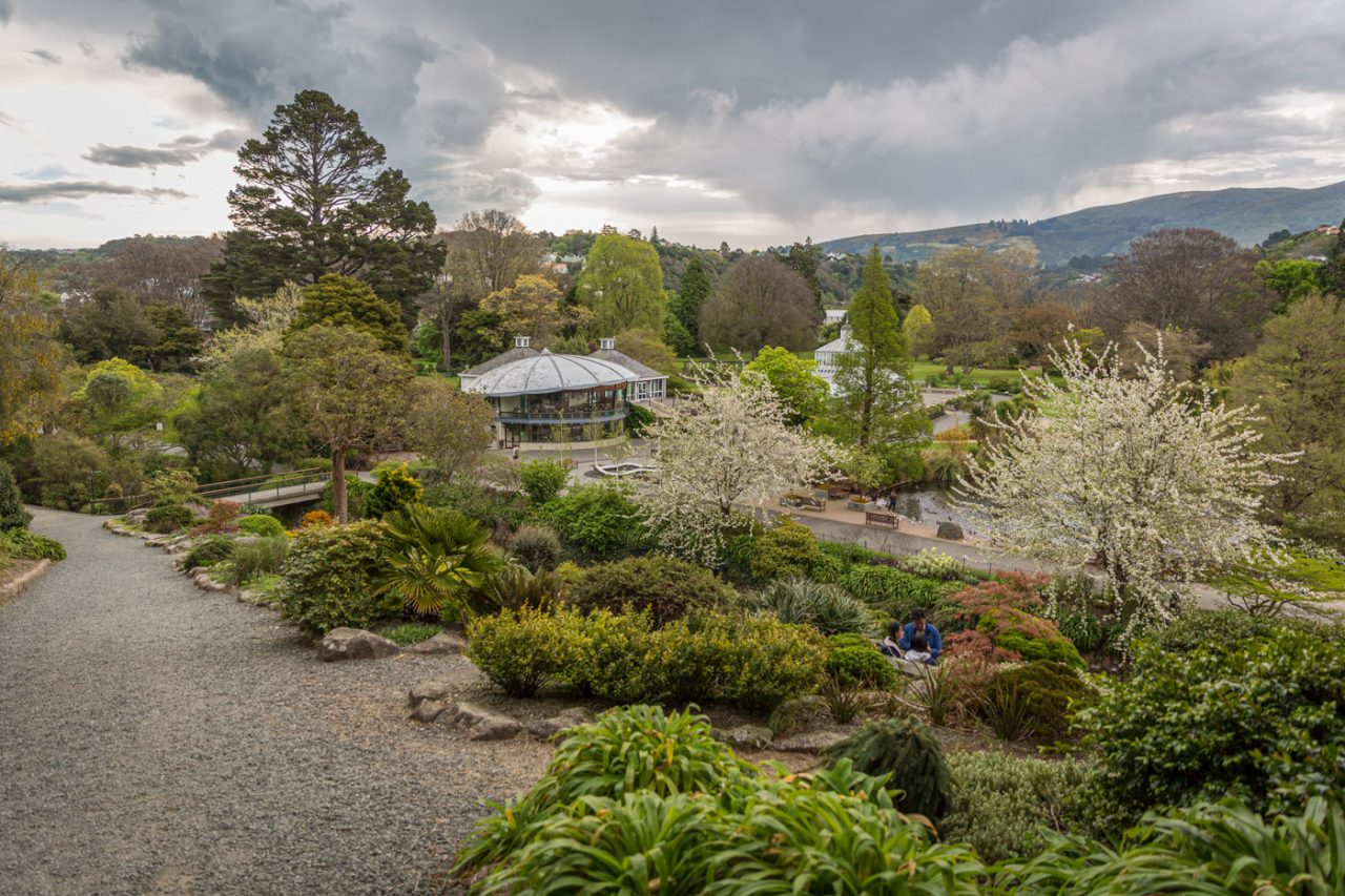 Overview of the Dunedin Botanical Gardens, South Island, New Zealand