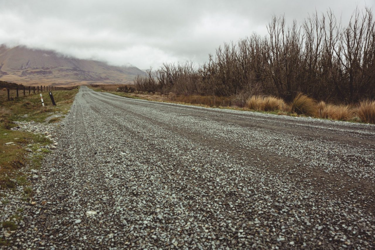 Dirt road on a New Zealand road trip through middle earth