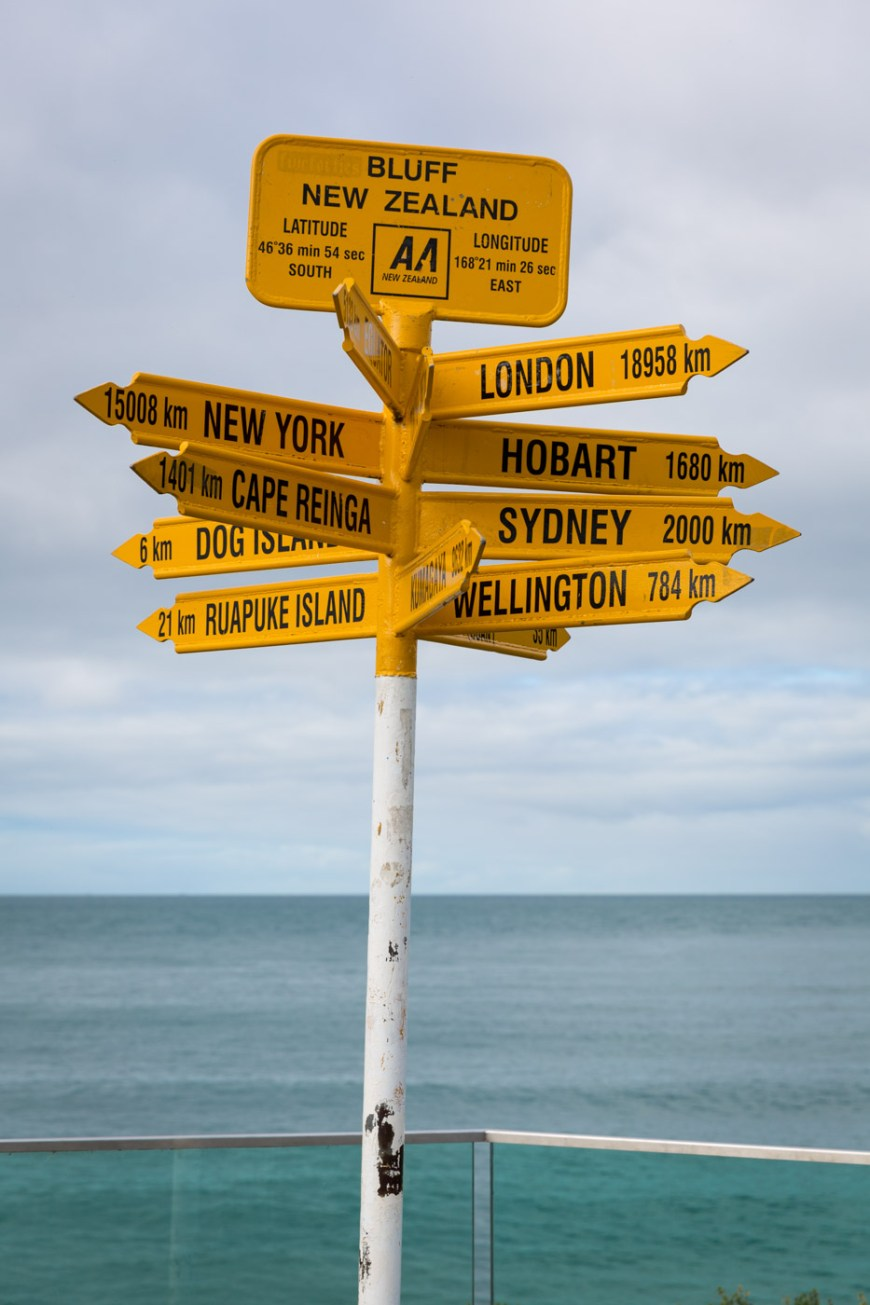 The signpost marking the Southernmost point on the South Island of New Zealand. Bluff, New Zealand.