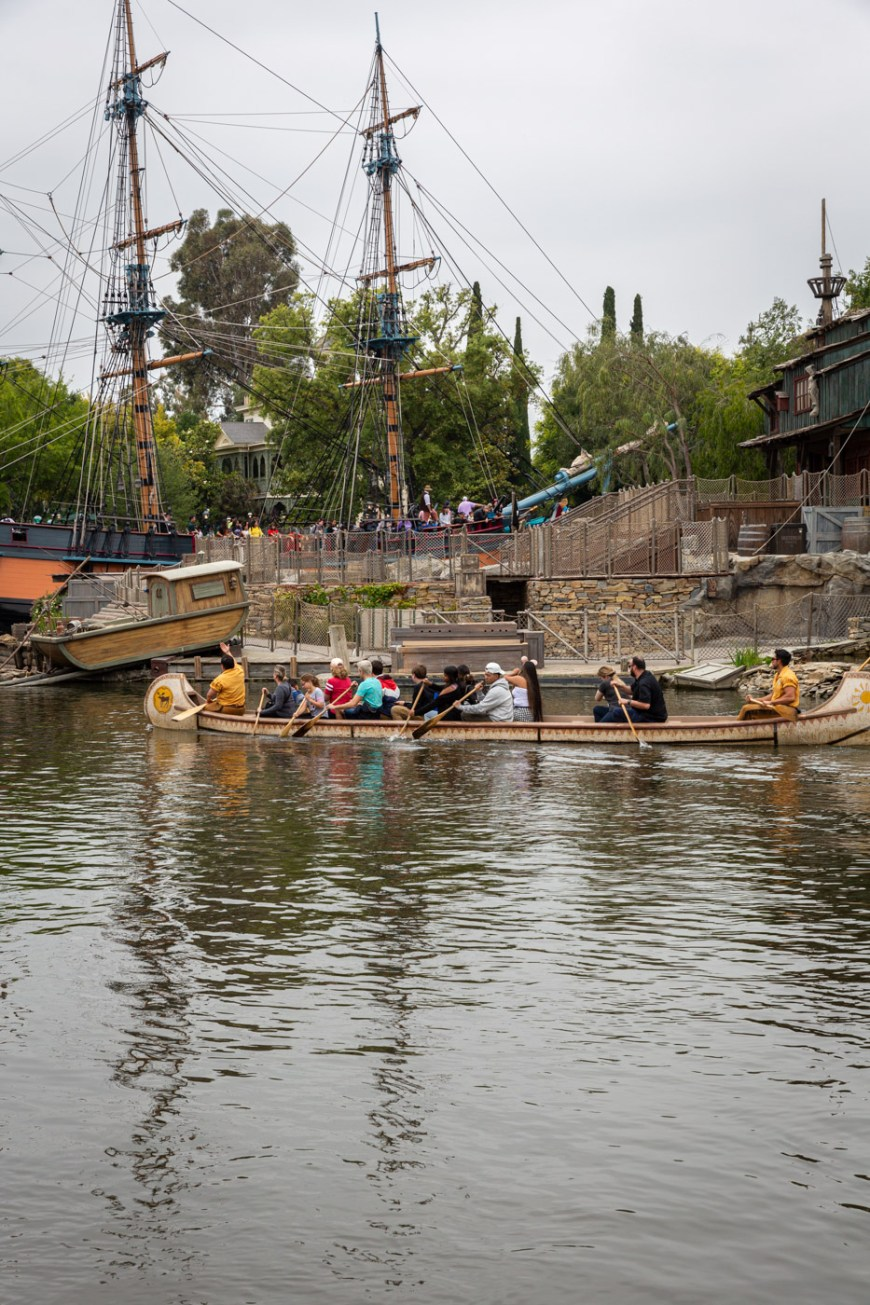 The canoes and the Columbia on the Rivers of America at Disneyland