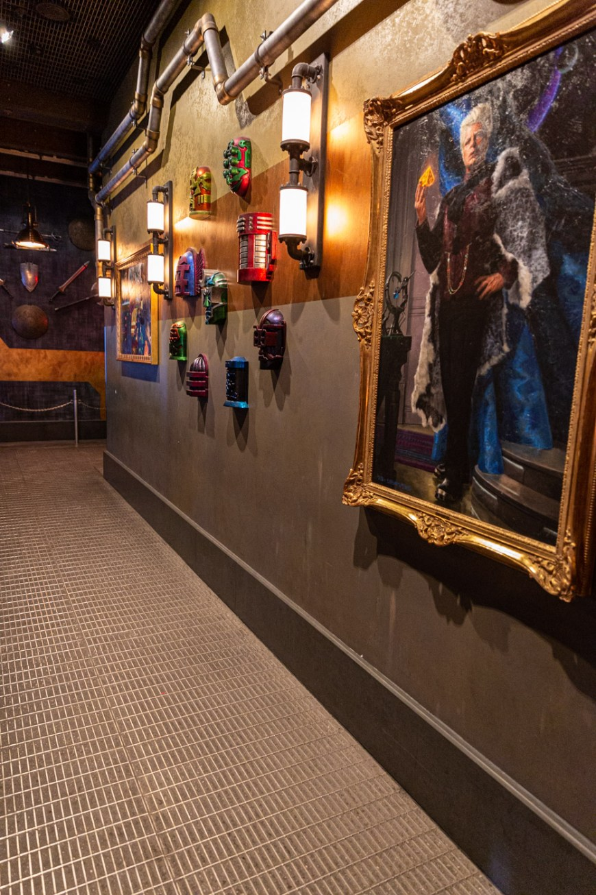 Interior waiting area of Guardians of the Galaxy at Disneyland.