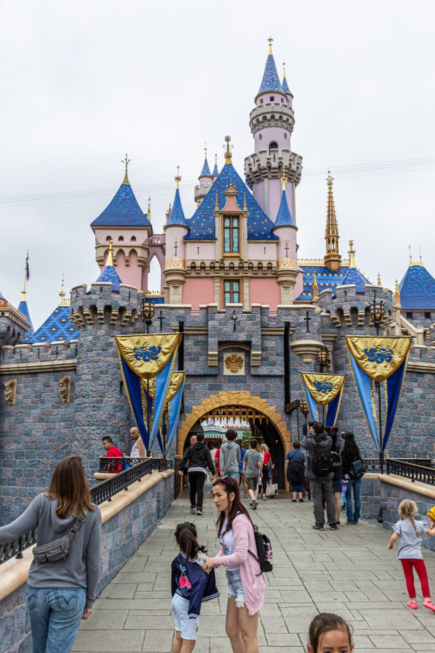 The newly painted Sleeping Beauty Castle at Disneyland