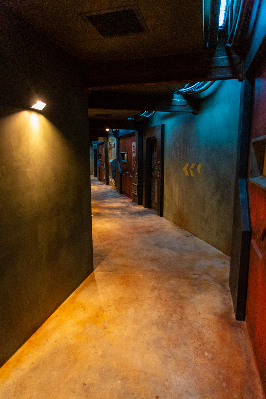 Smuggler's Run Exit tunnel inside Star Wars Land at Disneyland. Galaxy's Edge at Disneyland.