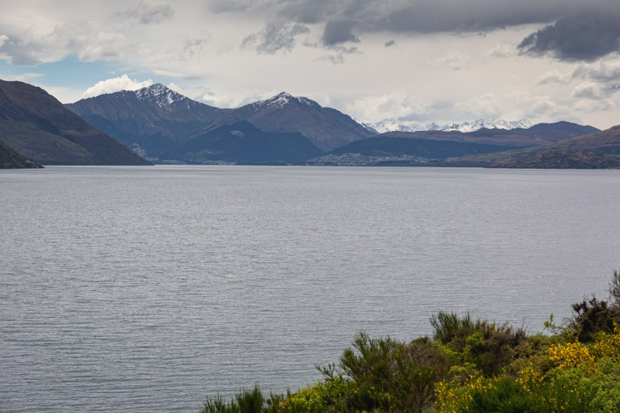 Queenstown on the horizon as we make our way from Te Anau.
