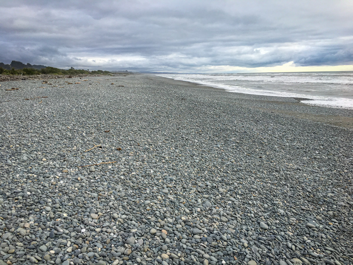The rocky beach in Greymouth, South Island, New Zealand