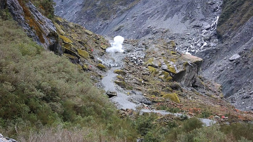 Blowing up boulders on the trail at New Zealand's Fox Glacier