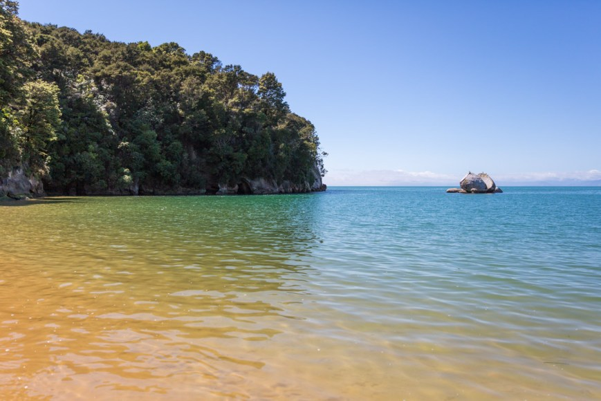 Split Apple Rock in Abel Tasman National Park on the South Island of New Zealand.