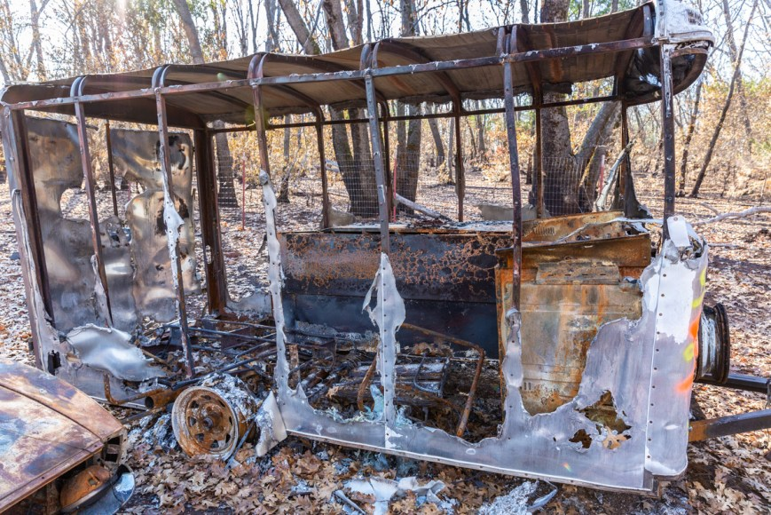 Burned out trailer in the Camp Fire Paradise California