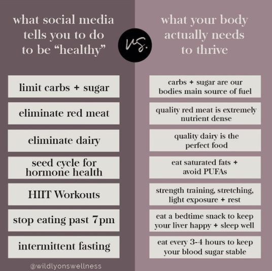 What Social Media Tells You to Do to Be Healthy